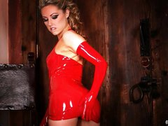 Gorgeous Sarah Peachez looks breathtaking in red latex