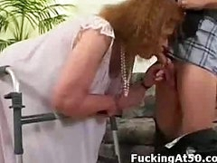 Granny can barely walk but she can still give a good fucking