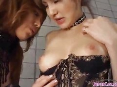 2 Hot Oriental Cuties In Sexy Lingerie Sucking Each Other Nipples Patting On The Mattress In The Basement