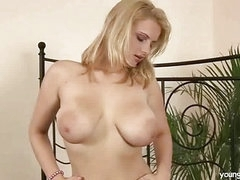 Breasty blond masturbating