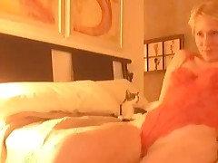Golden-haired gets horny after virtual sex and begins self-pleasuring. She masturbates, stroking her clitoris and feels forthcoming orgasm. Suddenly this babe notices that this babe forgot to turn off web-camera, but now that can't stop her.