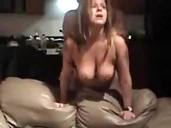 Mature bitch with large natural boobs is screwed from behind, her chap is rough with her.