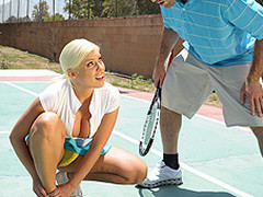 Britney can't live without a little healthy competition. Britney also has a healthy set of jumbo knockers. When Charles meets up with her for a match, Britney is in way over her head. Not merely is this chab a more fantastic tennis player, but this sweetheart risks being flopped out of the league entirely. As a last minute ploy, Britney uses her wits and her zeppelins in order to win the match!