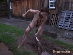 The worthless slut Maggie digs a hole to stay in it. That babe has a beautiful face hole and a hawt body but this babe is ribald and her pretty lips spread by a thraldom device. After Maggie finishes digging this babe needs to engulf the end of the shovel and then get her shaved love tunnel filled with it. That's right Maggie, u know you're place