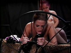 If u like midgets and muff then this is for you! Here's Twigget, a cute redhead midget that is getting her muff licked by Regan, a sexually excited milf with hawt boobs. Twigget widens her legs and gets this milfs tongue in her muff in advance of that babe straps on a sex-toy and starts fucking this milf from behind making her hawt zeppelins bounce. What are those beauties going to do next?