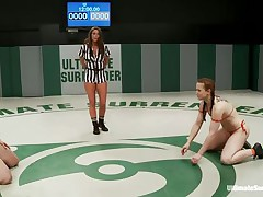 Hot bitches wearing swimsuits begins wrestling because they desire to dominate each other. The strumpets are caught in difficult clutches, from which they have to escape, otherwise the other takes her bra or bikini off and begins licking her body. Each sexual move brings recent points and the fight is tight!