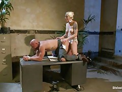 Chad Rock thinks he'll impress mastix Lorelei Lee with his business suit. She's unimpressed. She fucks him from behind on the desk with her black strap-on then flips him over on his back and pounds his booty harder. She strokes the bitch boy's cock and allows him to squirt his spunk all over himself.