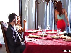 At dinning table spouse tells some truth about himself, redhead wife doesn't like it and wants to leave that place. As this hottie is going to leave this hottie is caught by one more sexy blond babe, spouse tells her to educate her wife a lesson. That hottie lay her on the sofa and fingers her love tunnel and kisses her erotically. Blonde hottie unzips her spouse pant and pulls of his hard dick and starts engulfing it in front of her spouse during the time that this hottie is held taut by one more man.