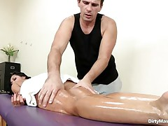 Look at this oiled lascivious playgirl getting her hawt body massaged and her nice a-hole spanked. Watch how lascivious that man got when that man saw her tight pussy. Is that playgirl going to acquire some jock juice on her marvelous face or a big hard jock inside her hawt ass?