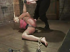 Amber never felt so abused in her life! She is fastened with one leg up, blindfolded and mouth gagged. She get's what that babe deserves, an humiliating treatment that involves a lot of spanking. Look how her shoe is removed and her foot is spanked and then her thigh too. Does that babe enjoys the pain, should that babe receive some more?