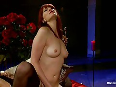 Her long red hair, sexy legs and gorgeous face makes this guy wanna obey to her devilish wishes so this guy licks her muff like a good obedient boy and then bends over with submission to take it unfathomable in his ass. This babe drills his aperture with her belt on dildo and makes him moan, what else this mistress has prepared for him?