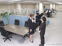 Now that is not a way to treat your work place! The lascivious Japanese employee goes on the desk and pisses on it. This babe is a bit shy and worried about what her colleagues will think, luckily this one supports her and even greater amount then that, this chab gives the floozy his dick for a rub and much more. Wonder what she will do next?