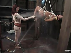 That girl needs an intensive washing and some spanking likewise and this mistress knows how to do the job right! That babe hanged her and washed her fit sexy body until she putted down, tied her with one more rope and secured her in a ideal position. Are u thinking for what is that dildo in the wall?