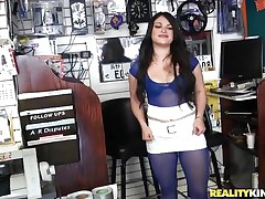 Sofia is starting to be horny when that babe sees this guy, her mouth drools for a ramrod and after he sucks her nipples and taunts her he takes of his large erect dick so that babe can have some joy with it. In no time she's down on her knees and prepares for some pleasure, wanna see her in action?