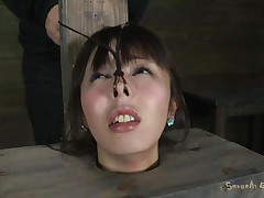 Fucking wench Marica with pretty face is all tied up in a box and has a vibrator on her constricted pussy. She moans with pleasure, pleasing her horny slaver Matt who makes her face gap suck his big hard cock. That fellow sticks it in her immodest face gap and stays there, making her cunt so wet and wishing for more!