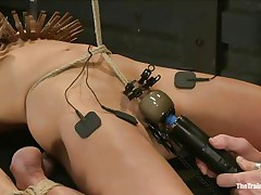 The man is showing his skills in domination and punishment. This guy putted laundry pliers on this slut's boobs and then suckers on her nipps before rubbing her clit with a vibrator. After rubbing that fur pie worthwhile and good this guy hangs her and probably has something very special for her ass, would you like to see that?