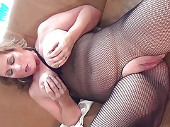 This hawt mature bitch with big round tits is sitting on the daybed wearing hose and she is playing with her boobs. She begins rubbing her large shaved cum-hole becoming very horny. The blonde takes now a lengthy sex-toy and begins riding it awaiting the big agonorgasmos coming soon.