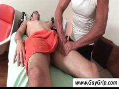 Horny gay fellow comes in for back massage and gets his wang massaged too