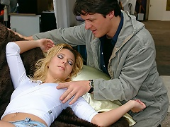 A blond beauty visits a second hand furniture shop. After a whilst she...