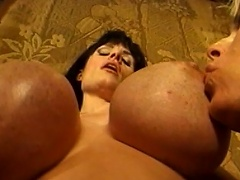 Biggest zeppelins are bouncing everywhere as these three voluptuous gals...