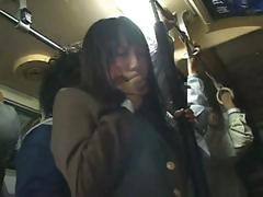 Shy Asian school angel acquires caressed on the train then drilled at home