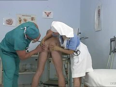 Breasty Blonde Nurse Kathy Lovely Gets Facialized In a Bisexual 3some