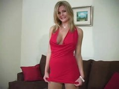 Gorgeous cutie in hose and dress tease