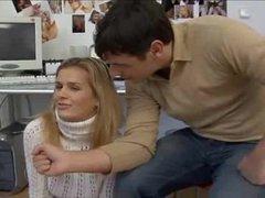 Hottie in white turtleneck sweater is flexible