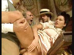 Fellows watch gal in vintage costume take big cocks