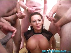 Big tit British milf Carly G debut bukkake