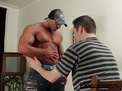 Giant muscles stripper max getting worshipped by horny fellow