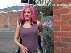 Wheelchair tied leah caprice in uk flashing and outdoor nud