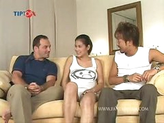 Biggest tits Thai porn star NAT sucks 2 cocks and receives screwed in 2 scenes