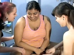 Corpulent indian bitch getting tickled by two sexy lesbos