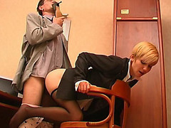 Slutty co-worker sniffing high heel shoes whilst fucking sexy gal in black pantyhose