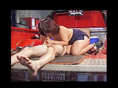 This horny older pervert craves to try fitting his big obese dick in a truly tight muff and ends up fucking some shameless midget slut hard and loud right in the back of his red pickup truck.