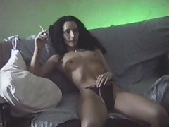 Brunette bitch with bushy hair seduces her partner and receives her face hole seriously fucked by him and her cookie penetrated in the doggy style.