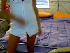 Fans of role playing cam gals will love this next real homemade episode of a hawt and long legged blonde babe as this babe lazily take off that hot nurse outfit and fill her muff with a bunch of sex toys!
