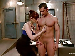 Divine redhead mistress enjoys punishing a muscled guy like this one. That babe takes her time and does the job with precision. At first the slut uses a lot of laundry pliers on this dude's wang and when she finishes she goes in the back of the room, wonder why?