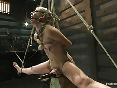 Chastity Lynn is a golden-haired milf who enjoys being fastened up with ropes. She likes when that sweetheart is not able to move her hands and feet freely. As that sweetheart stands helpless with a ball gag in her face hole and a rope blindfold on her eyes, a friend is giving her a large time pleasure, rubbing her cunt with a vibrator.