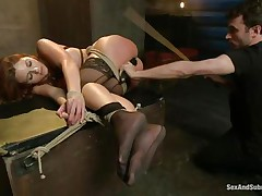 After breaking her self esteem it's time for that hot ass to be exploited. Kenzie finds out that this babe loves being treated like a worthless doxy and when the executor fingers her and spanks these hot legs this babe begs for more. A large hard schlong enters her tight anus, making Kenzie moan with great lust.