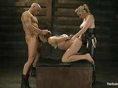 Chastity Lynn is a submissive girl eager to fulfill her darksome raunchy desires. Aiden Starr and her friend Derrick Pierce are there to give her what that babe needs. The older hawt honey with a ding-dong goes on and fucks her shaved pussy, while the white dude bashes her mouth roughly. They have a great time together.