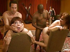 These whores are enjoying a hard deep fuck, see 'em as the boys are fucking their butts from behind and then spank them. It's a fun to look at 'em being dominated and then how they take matters in their own hands, wonder if that ebony doxy is going to receive a deep fingering?