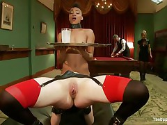 Horny Juliette is licking Nikki`s constricted pussy, while getting fucked very hard. She is moaning with pleasure and receives her love tunnel spanked so hard, while Nikki receives her ass whipped. Nikki is the waitress tonight and has to hold a coaster and be careful not to spill it, even though she is almost cumming!