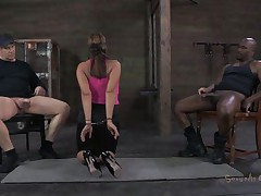 She's sexually broken in a way that that babe deserves. Ava always liked to suck a cock and this time that babe does it blindfolded. 2 studs are sitting on chairs, one white and the other one black. This babe sucks them one at the time, not knowing who is who. Perhaps the taste of cum will make a difference.