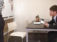 Ai Komori and her coworker are in the office working on a project together. Ai keeps looking for files and her coworker uses every opportunity to check out that sexy ass of hers. She gets a run in her pantyhose and he comes to check it out, then hikes her skirt, rubs her, and starts nailing her.