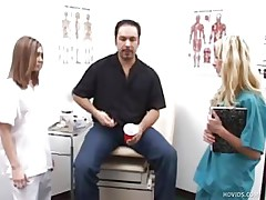 Mike goes to the doctor to see what's wrong with his dick. Two nurses, Karen and Jenna, inspect his ramrod by making him jerk it in front of them. They help him give a sperm example by taking turning jerking his penis.