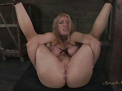 Bound up and with her legs widen this blond experiences some hard fucking. The executor shows her no mercy and fucks her pussy deep and hard whilst chocking her. She barely stands what that guy does and maybe a harder castigation will make this blond even greater quantity unrepining