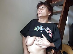 Old lady Vlasta receives so turned on on a ladder and takes her clothes off, during the time that touching her vagina and tits so hard. That babe keeps fingering her wet pussy and groaning with so much pleasure. Then, the bitch sits down and spreads her legs 'coz she is ready to cum on a little red slide. Want to know how this`ll end?