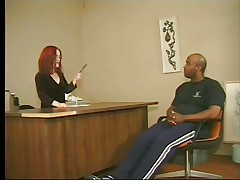 Cute redhead midget asks this tall big black guy to stand up and then takes his cock in her mouth, wrapping these red hawt lips around it. This is at an interview and that guy more good fuck that midget wench priceless to take the job. Look at her sucking his dick with passion, this babe loves it and then undresses, maybe we are going to watch some hardcore fuck? If that guy wants the job that guy will do as requested from this midget slut.